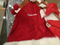 Pottery Barn Chair Backer Christmas Santa Hat mono quot; Charlottequot; New