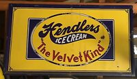 RARE VINTAGE PORCELAIN HENDLERS ICE CREAM SIGN 3.5' X 6' Baltimore MD Maryland