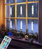 Electric Xmas Windows LED Lights Taper Candles Flameless Pillar Battery Operated