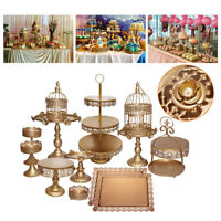 US STOCK 14pcs Antique Gold Metal Cake Holder Cupcake Stand Wedding Plates Set