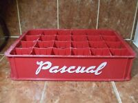 VERY OLD MEXICAN SOFT DRINK MEXICO 24 BOTTLE PLASTIC CARRIER PASCUAL CRATE