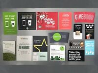 Starbucks printed advertising. Paper cards, cup sleeves and flyers.