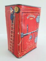 Vintage Nestle's Quik Cocoa Bank Antique Safe  5 Cent Frog Face Red Graphics Tin