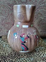 MINT ~ SIGNED KERAMOS HAND PAINTED LARGE PITCHER ~ VASE ~ ISRAEL POTTERY