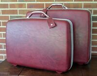 Vintage Samsonite Red Maroon Hardside Luggage Suitcase Set  - 2 Pieces