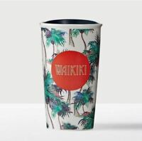 NIB Starbucks Hawaii Waikiki Double Wall Ceramic Travel Tumbler Mug Palm Trees