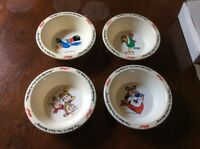 4 Kellogg's Cereal Bowls Corn,Frosted Flakes,Rice Krispies,Fruit Loops W/box