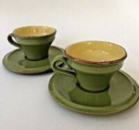 2 Sets Vietri Italy Cucina Fresca Yellow & Sage Green Flat Demitasse Cup Saucer