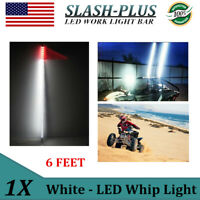 6ft White LED Whip Light For RZR ATV UTV 4X4WD OffRoad Super Bright 6' With Flag
