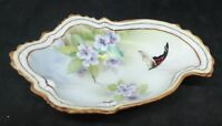 Vintage Nippon Hand Painted Porcelain Oyster Shaped Trinket Jewelry Dish