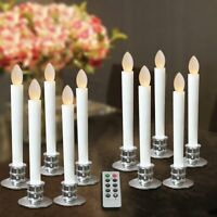 LED Flameless Taper Candles Flickering Windows Light Remote Timer Remove Holders