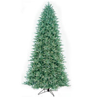 GE 12' Just Cut Aspen Fir Quick Set Christmas Tree pre lit LED Color Choice