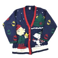 7e295fb8 Vintage Snoopy & Friends Cardigan Women's Sweater Large Made USA Charlie  Brown