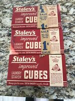 Vintage STAYLEY'S Improved Laundry Starch Cubes - 3 Unopened Boxes.