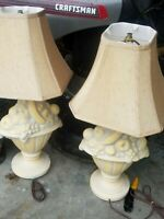 2 Vtg Mid-Century Royal Haeger Fruit Assort.  Pottery Table Accent Lamp2