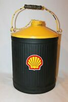 ANTIQUE VINTAGE DELUXE METAL 5 GALLON GAS CAN - REPAINTED SHELL COLORS