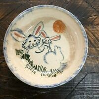 Studio Handcrafted Pottery Easter Bunny Rabbit Bowl Denver North Carolina Signed