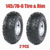 Pair of 145/70-6 Front Rear Tire Tire + 3 Bolt Rims For ATV Quad Kids Buggy
