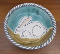 Artist SALLY CHRISTOPHER ART POTTERY Bowl Signed and Dated BUNNY RABBIT MINT