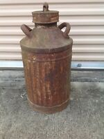 VINTAGE Shields Harper 10 GALLON OIL CAN with ELLISCO Lid Gas Garage Collectible