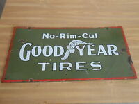 Vintage Sign Goodyear Tires No-Rim Cut ca.1910 Very Rare Double Sided Porcelain