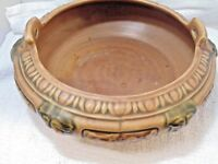 Roseville Pottery Double Handled Florentine Brown Bowl Console Planter