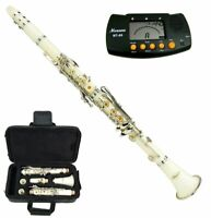 New Bb White Clarinet with Case and Free Metro Tuner Ship from USA