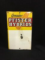 Vintage Pfister Hybrids Seed Corn Feed Sign Agriculture Advertising
