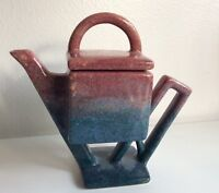 Vintage Artisan Pottery Pedestal Teapot Geometric Modern Abstract Signed Unique
