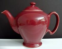 Vintage Hall Pottery 'McCormick Tea' Maroon Teapot Baltimore MD USA 3 Cups