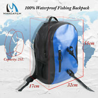 25L Waterproof Backpack Fly Fishing Bag with Rod Holders Ultra-durable