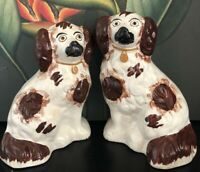 "antique staffordshire King Charles  spaniels 8""1/2 Dog Figurines"
