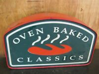 LARGE **Vintage Restaurant Sign - Quiznos Oven Baked Classics Metal Raised