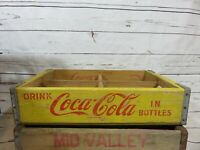 Rare Wood Yellow Coca-Cola Chattanooga 6 pack soda crate 1969 Great COKE collect