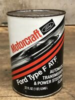Vintage FORD MOTORCRAFT TYPE F ATF Quart Can OIL Gas FULL Can