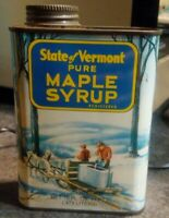 Vintage State of Vermont Maple Syrup Advertising 16 oz 1 pint tin can with top