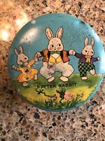 PETER RABBIT ~ VINTAGE ROUND TINDECO LITHOGRAPH CANDY TIN ~ EASTER BUNNY
