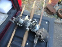 Vintage Lot Of 3 Bamboo Fishing Pole & Reels Old Antique Fish Deep Sea