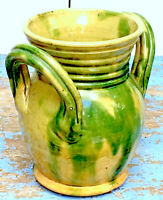 VINTAGE FRENCH VALLAURIS POTTERY / FAIENCE VASE, YELLOW & GREEN. MINT CONDITION!