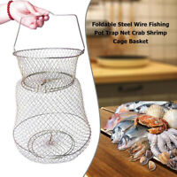 Steel Wire Fishing Trap Net Crab Shrimp Cage Fish Basket Tackle Tools Portable