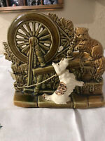 McCoy Pottery White Scotty Dog and Cat Spinning Wheel and Wishing Well