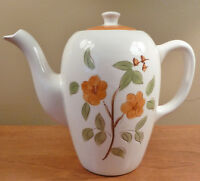 Mid-century vintage Stangl orange and green floral BITTERSWEET coffee pot