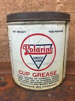 Vintage 1930's Polarine Cup Grease 10lb Grease Can - Standard Oil Company IN