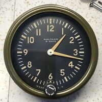 Waltham Watch Co 12809-TD-12 Sherman Tank Mantel 8 Day Aircraft Clock OD Bezel