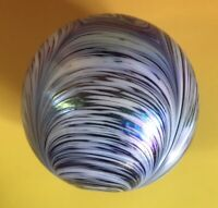Pulled Feathers Color Swirl Iridescent Glass Paperweight Purple