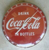 Vintage Round Thermometer Advertising Drink Coca Cola in Bottles Coke Button