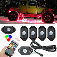 4 Pod RGB LED Rock Lights Offroad Music Wireless Bluetooth Control ATV for JEEP