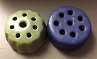 Two (2) Vintage Art Pottery Flower Frogs 1-Green 1-Navy Blue