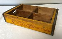 Coca-Cola Coke Wooden Crate Yellow and Red Divided Shelf Vintage