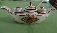 Vintage FRENCH FAIENCE Pottery Condiment Hand Painted Salt Pepper Mustard 1940's